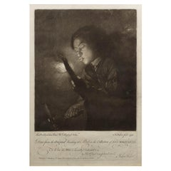 """Engraving """"Lighting the Candle"""" by John Faber after Godfried Schalcken, C1751"""