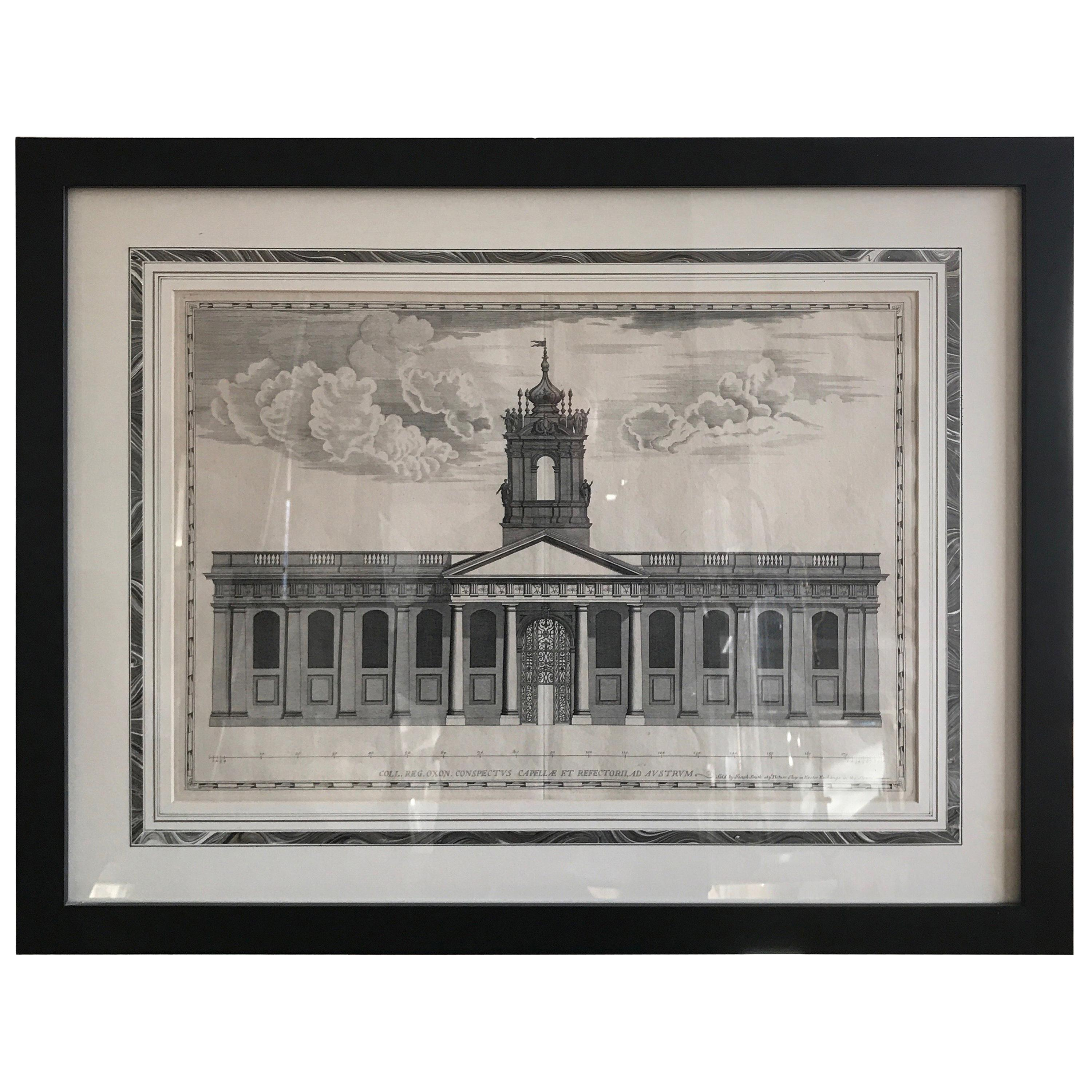 Engraving of Oxford University Administration Building, 18th Century