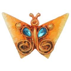 Enid Collins Papier Mache Butterfly Brooch, 1960's