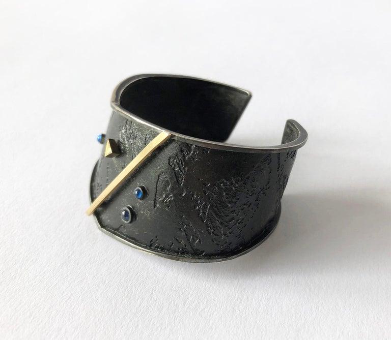 Artisan Enid Kaplan Gold Sterling Silver Sapphire Cuff Bracelet For Sale