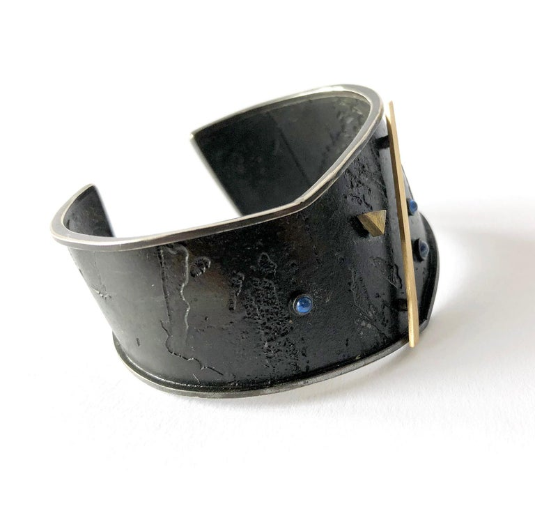 Enid Kaplan Gold Sterling Silver Sapphire Cuff Bracelet In Excellent Condition For Sale In Los Angeles, CA