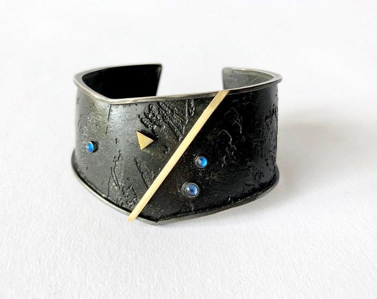 Women's Enid Kaplan Gold Sterling Silver Sapphire Cuff Bracelet For Sale