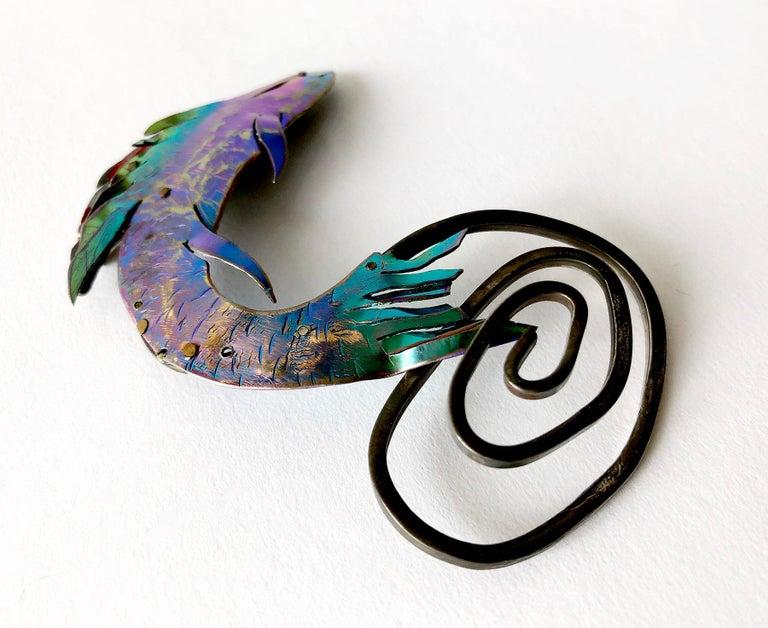 Artisan Enid Kaplan Sterling Silver Anodized Niobium Mylar Jumping Fish Brooch For Sale