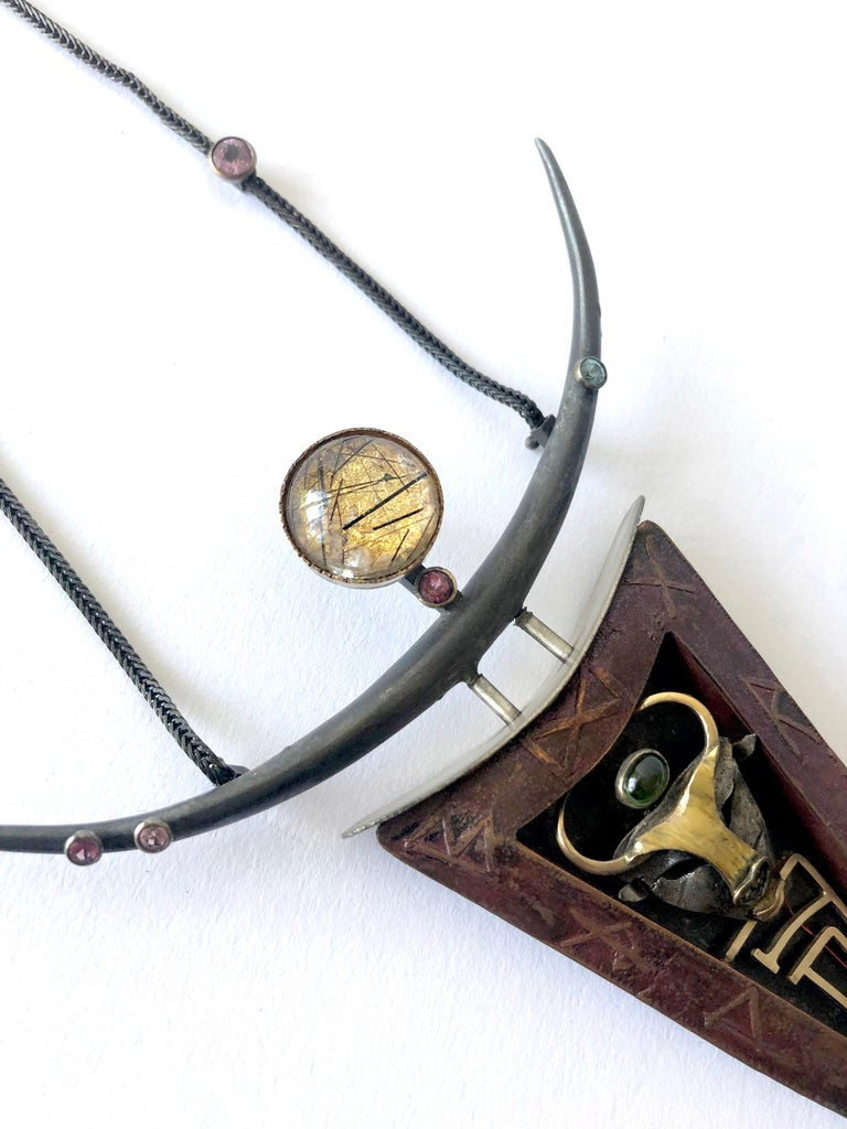 Enid Kaplan Sterling Silver Gold Spinel Quartz Ariadne Amulet Necklace In Excellent Condition For Sale In Los Angeles, CA