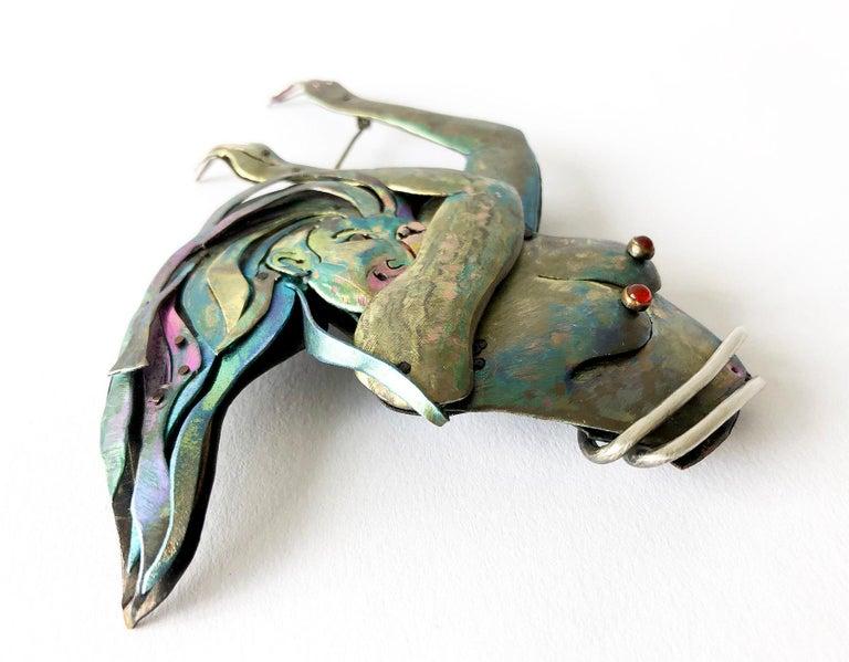 Artisan Enid Kaplan Sterling Silver Niobium Carnelian Rebirth Brooch For Sale