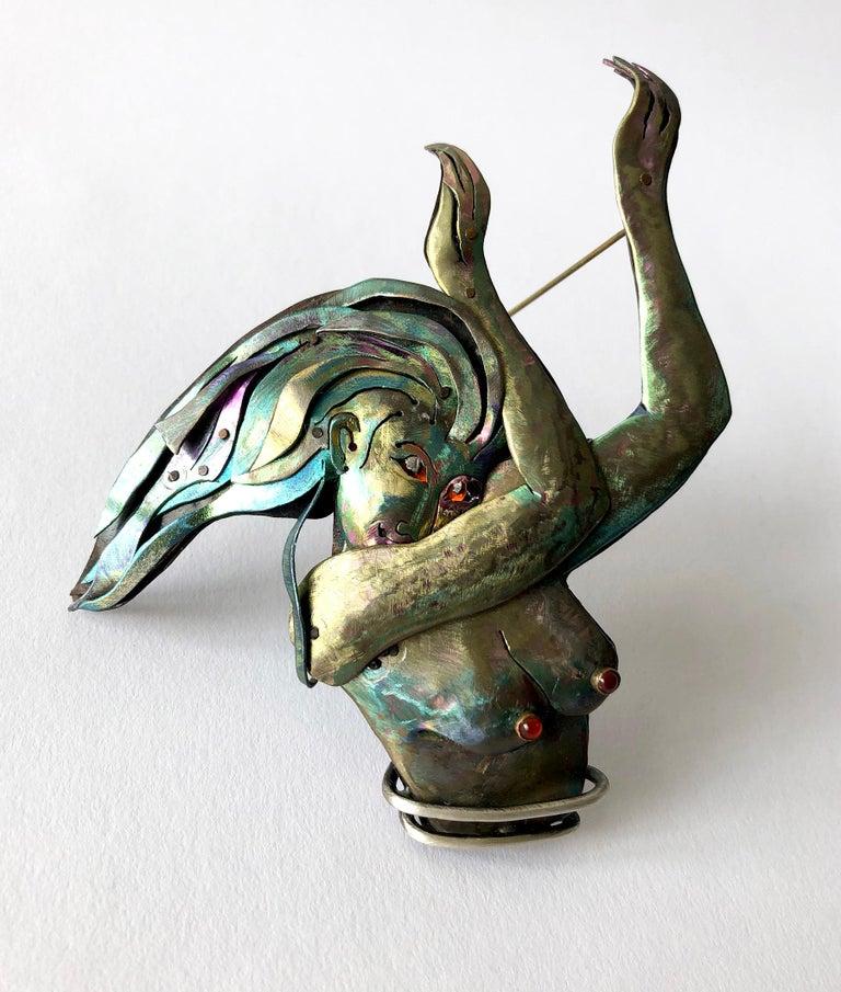Enid Kaplan Sterling Silver Niobium Carnelian Rebirth Brooch For Sale 1
