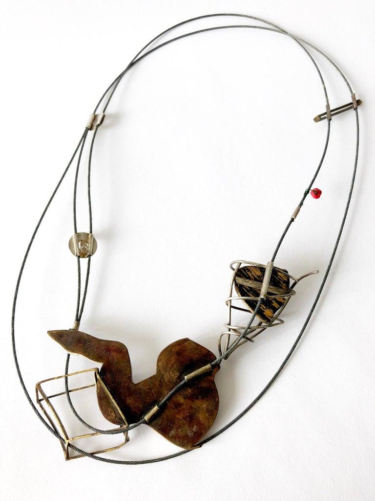 Artisan Enid Kaplan Sterling Silver Steel Glass Con Esperanzas Y Rosas Necklace For Sale