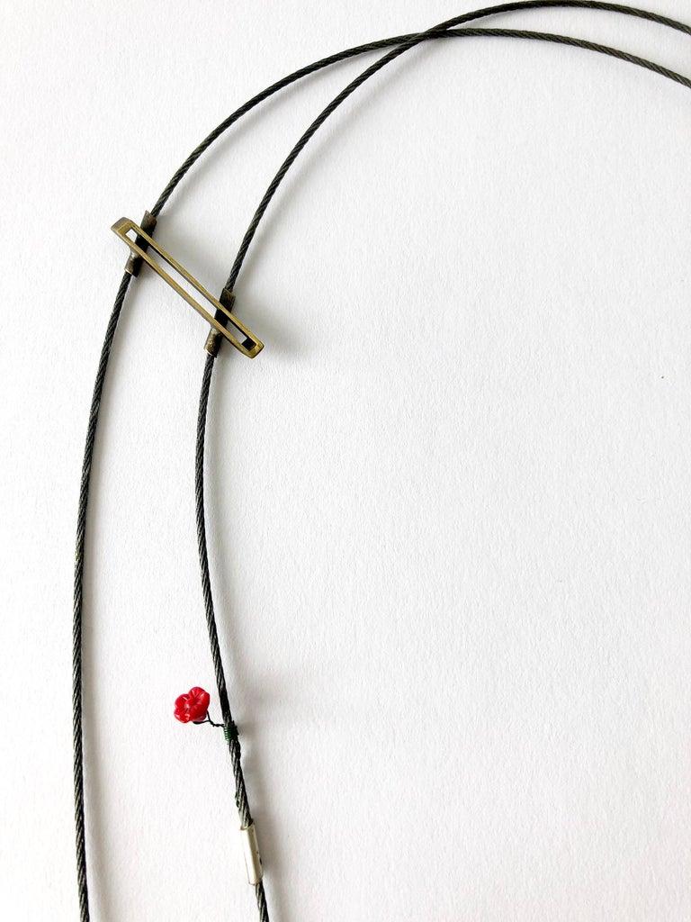 Women's Enid Kaplan Sterling Silver Steel Glass Con Esperanzas Y Rosas Necklace For Sale