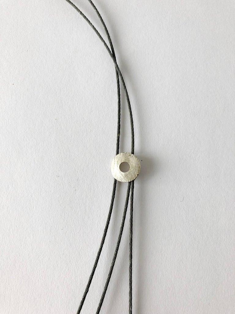 Enid Kaplan Sterling Silver Steel Glass Con Esperanzas Y Rosas Necklace For Sale 1