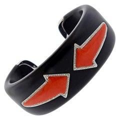 Enigma Gianni Bulgari Coral Jet Diamond Gold Bracelet