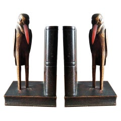 Enigmatic Bookends, Humanized Ravens, Carved in Wood with Glass Eyes 1800s