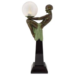 Enigme Art Deco Style Table Lamp Seated Nude with Globe Max Le Verrier France