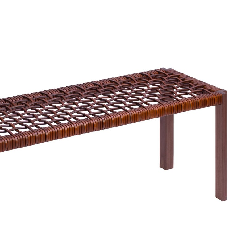 Italian Enlaced Leather Bench For Sale