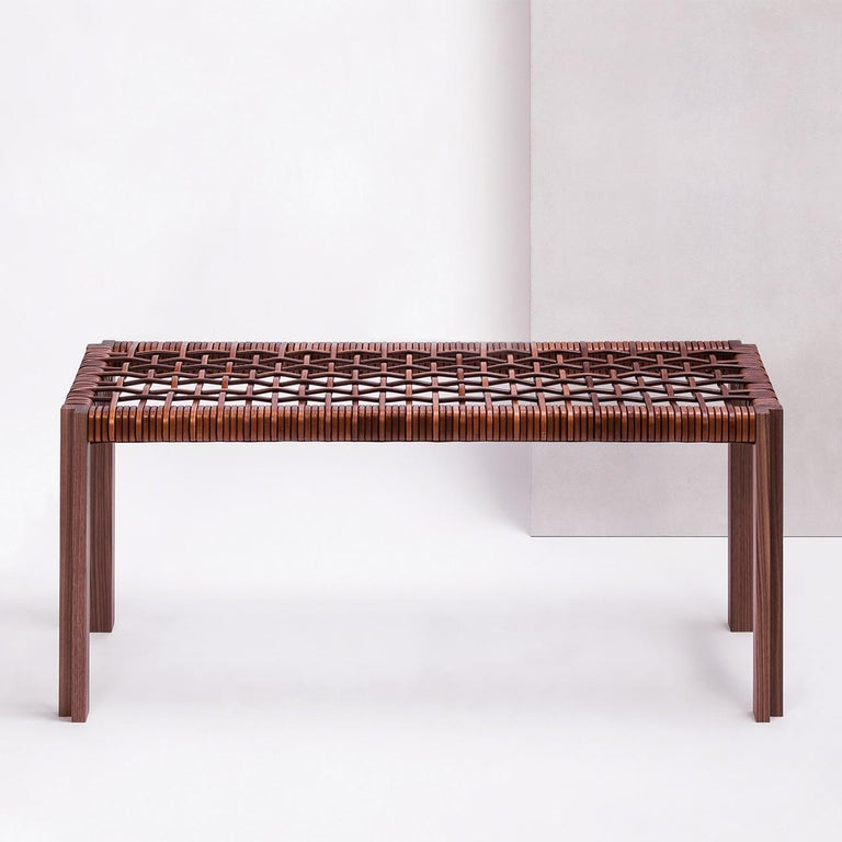 Hand-Crafted Enlaced Leather Bench For Sale