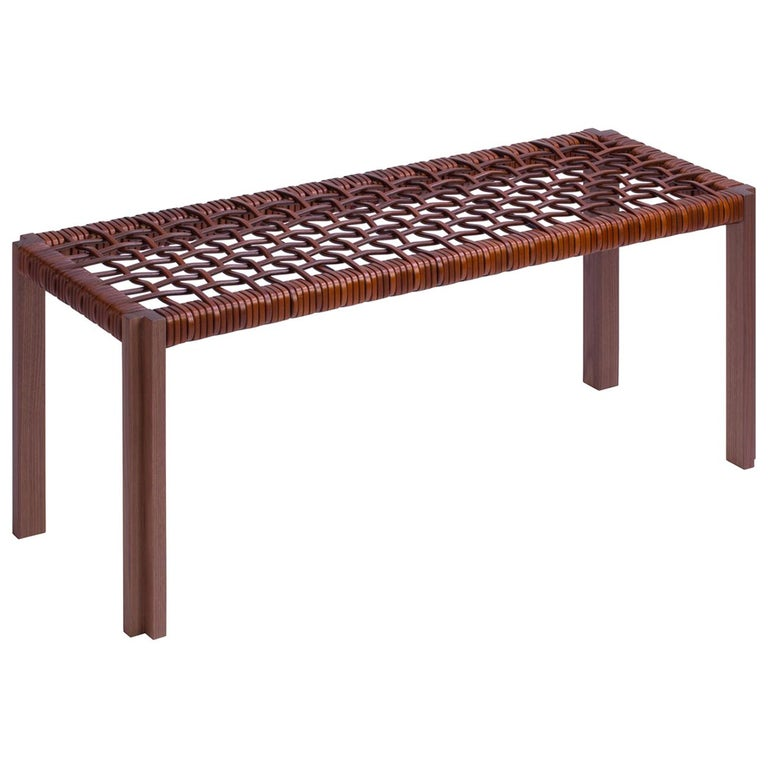 Enlaced Leather Bench For Sale