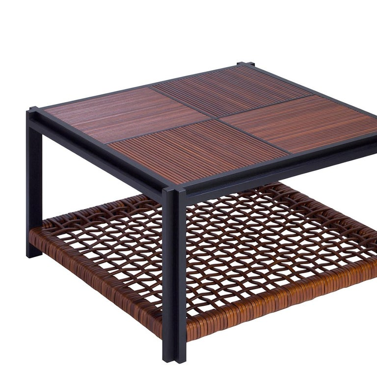 Coffee table enlaced leather with structure in solid walnut wenge stained. Down top made with enlaced genuine brown  leather. Up top made with genuine brown leather trims.