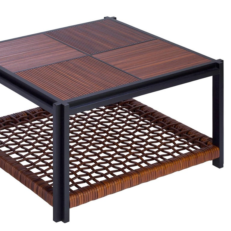 Italian Enlaced Leather Coffee Table For Sale