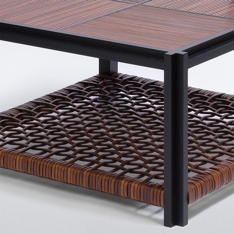 Hand-Crafted Enlaced Leather Coffee Table For Sale