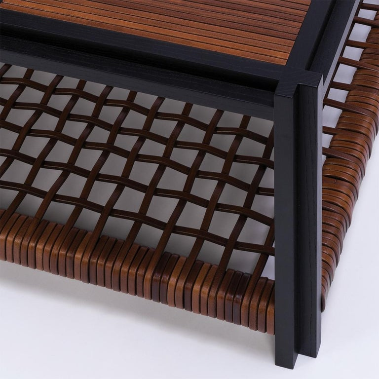Enlaced Leather Coffee Table For Sale 1