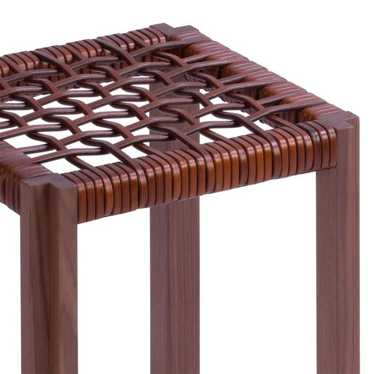 Italian Enlaced Leather Stool For Sale
