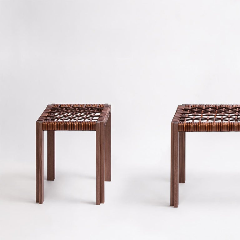 Hand-Crafted Enlaced Leather Stool For Sale