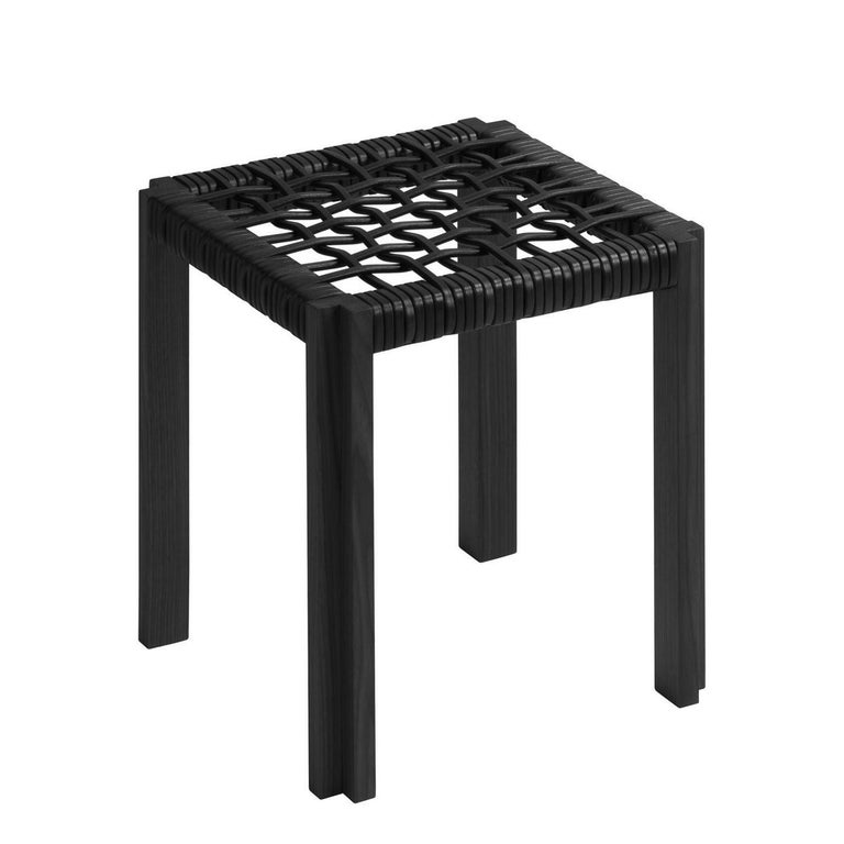 Enlaced Leather Stool In New Condition For Sale In Paris, FR