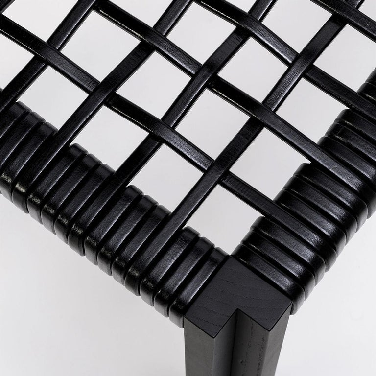 Contemporary Enlaced Leather Stool For Sale