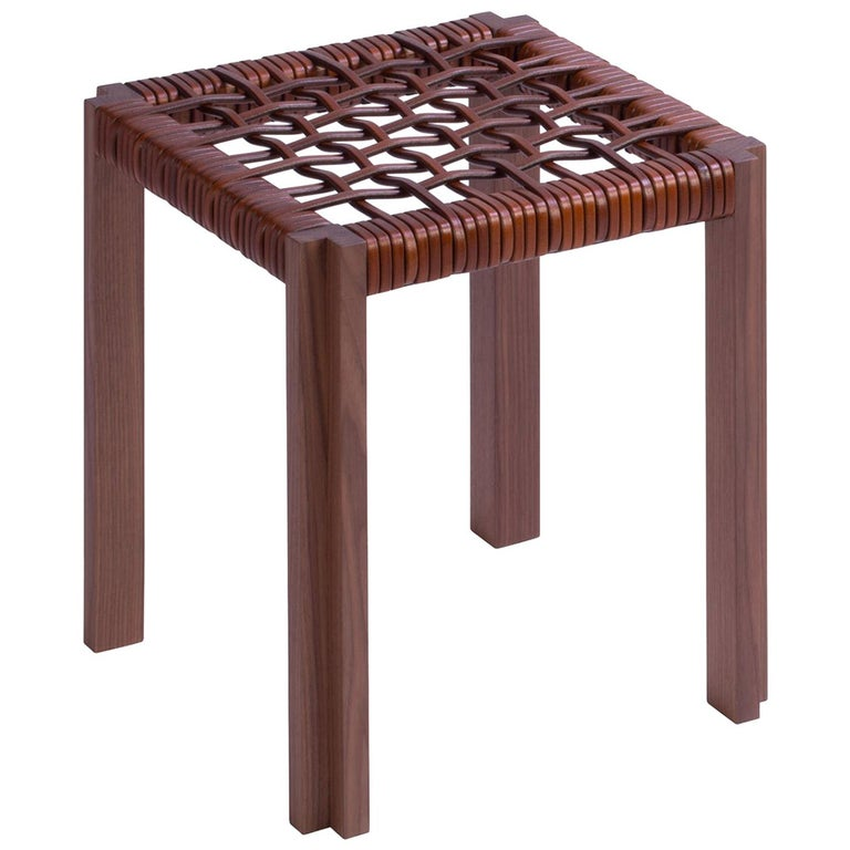 Enlaced Leather Stool For Sale