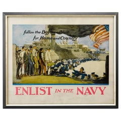 """""""Enlist in the Navy"""" WW I Navy Recruitment Poster, circa 1917"""