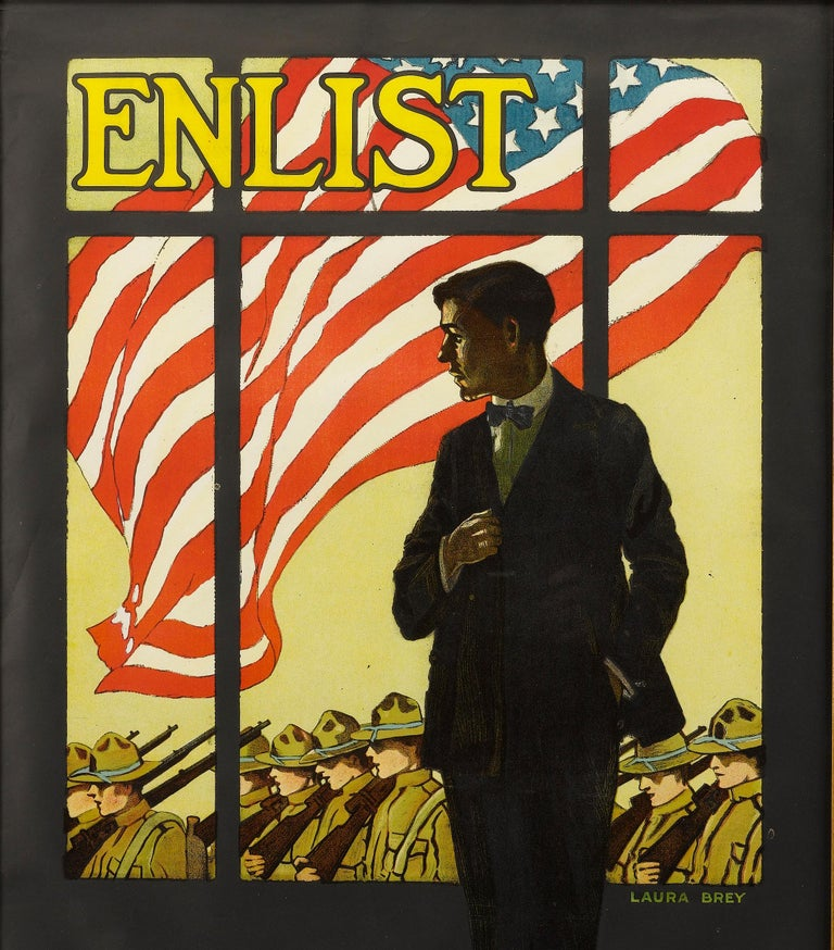 This colorful and dynamic poster was created by Laura Brey (1891-1980) in 1917. It urges that eligible men enlist in the WWI war effort.  Center in the composition, a young man in a suit watches a column of soldiers march past his window.