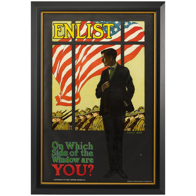 """Enlist """"On Which Side of the Window are You?"""" World War I Poster, 1917 For Sale"""