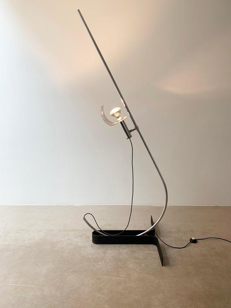 Mid-Century Modern Ennio Chiggio 'Jota' Chrome Floor Lamp for Lumenform, 1970s For Sale