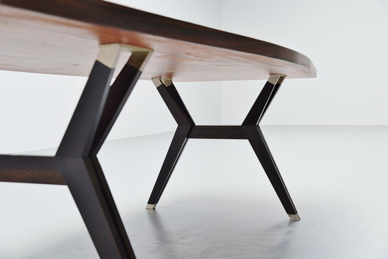 Mahogany Ennio Fazioli MIM Tolomeo Dining Table in Rosewood, Italy, 1958 For Sale