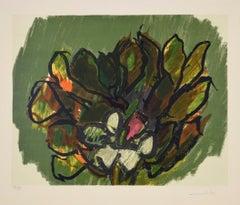 Colored Flowers - Original Lithograph by Ennio Morlotti - 1980s