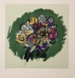 Colorful Bouquet - Original Lithograph by Ennio Morlotti - 1980s