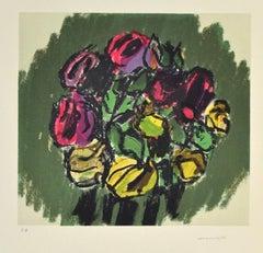 Flowers - Original Lithograph by Ennio Morlotti - 1980s