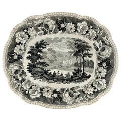 Enoch Wood Black Transferware Rievaulx Abbey Yorkshire Earthenware Platter