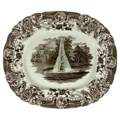 Enoch Wood & Sons English Staffordshire 'Fountain' Brown Transferware Platter