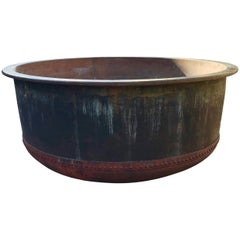 Enormous 19th Century Riveted French Copper Cheese Vat Fountain/Planter/Bathtub