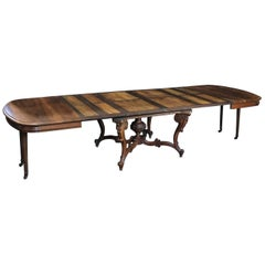 Enormous Carved Wood Baroque Walnut Dining Table with 6 Leaves