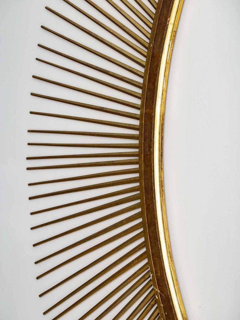 Mid-20th Century Enormous Italian Art Deco Oval Starburst Sunburst Gilded Frame, circa 1930 For Sale