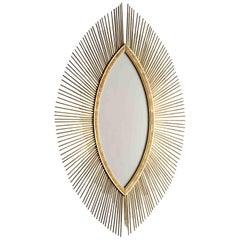 Enormous Italian Art Deco Oval Starburst Sunburst Gilded Frame, circa 1930