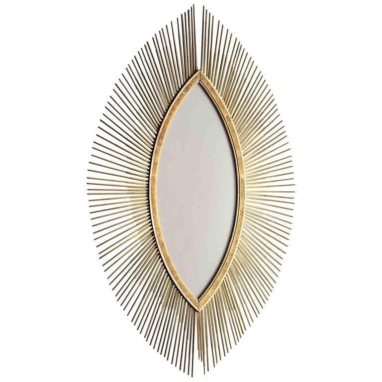 Enormous Italian Art Deco Oval Starburst Sunburst Gilded Frame, circa 1930 For Sale