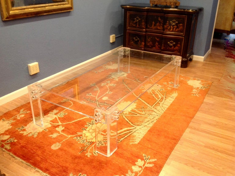 Mid-Century Modern Enormous Lucite Cocktail Table For Sale