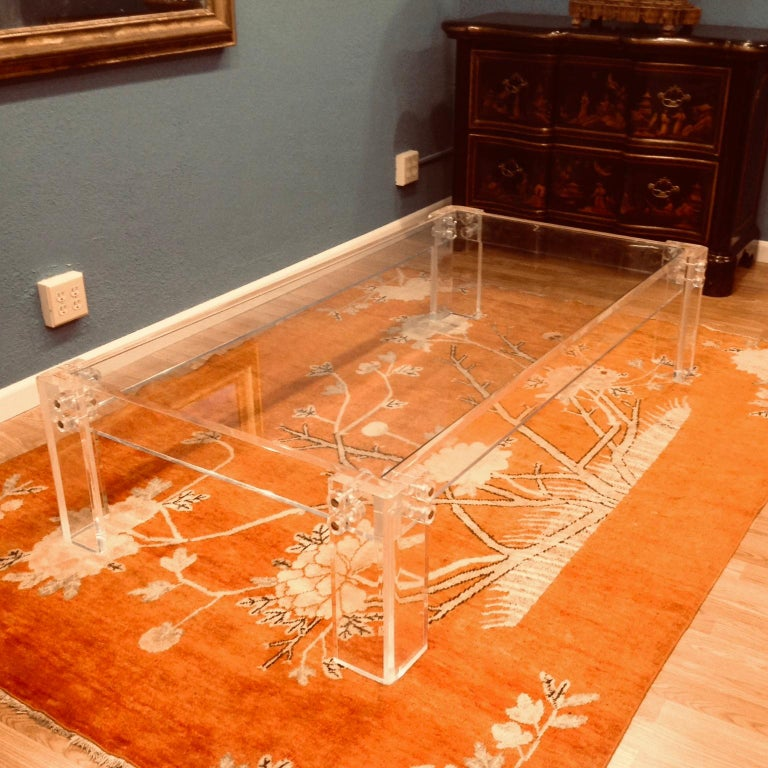 American Enormous Lucite Cocktail Table For Sale