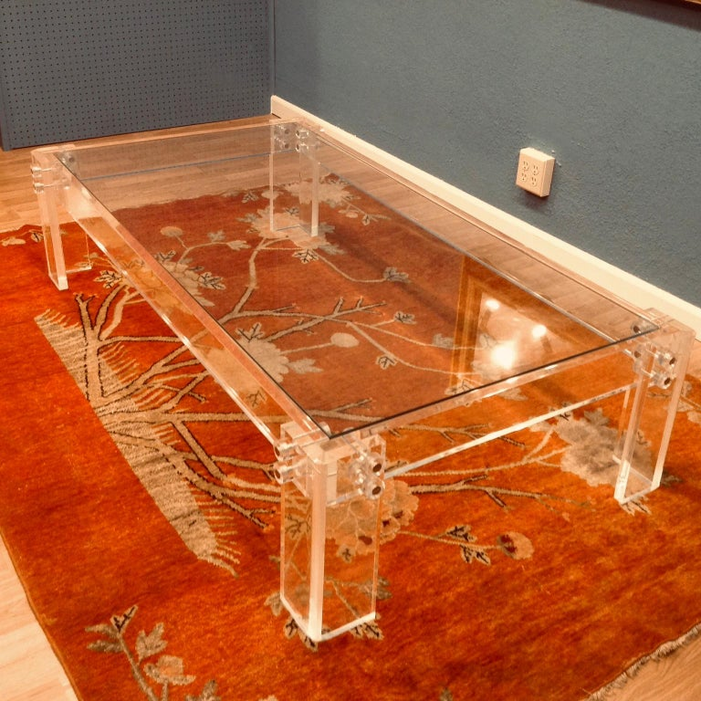 20th Century Enormous Lucite Cocktail Table For Sale