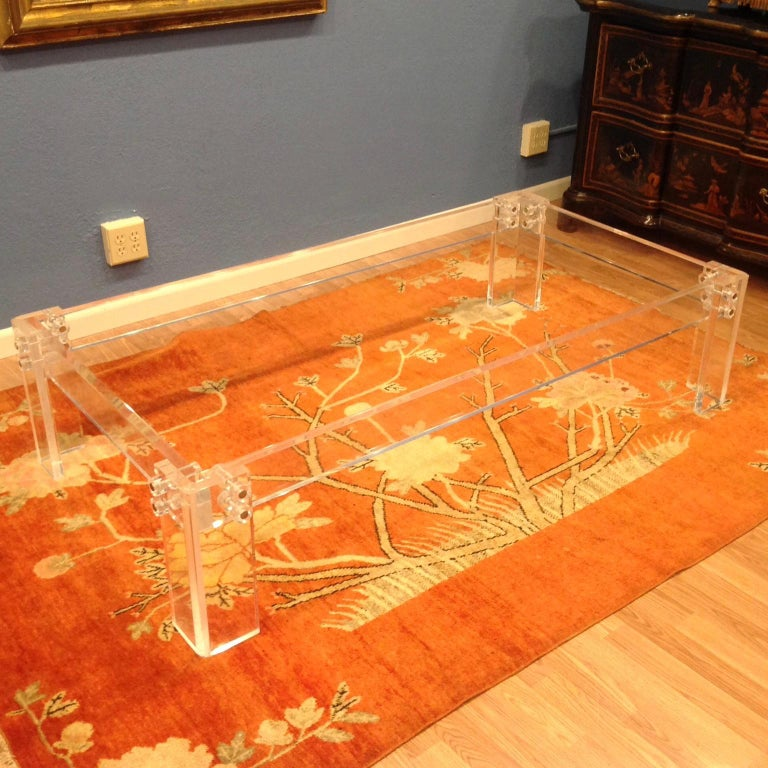 Glass Enormous Lucite Cocktail Table For Sale