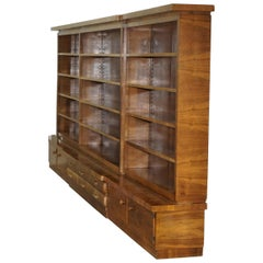 Enormous Mid-Century Modern Walnut Bookcase with Drawers and Cupboards