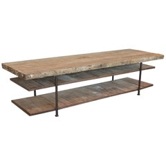 Enormous Oak and Steel Work, Console, or Display Table, Burgundy, France