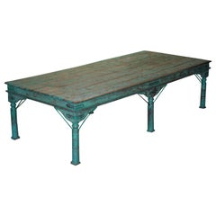 Enormous Original Paint Anglo Indian Teak Magistrates Table Special